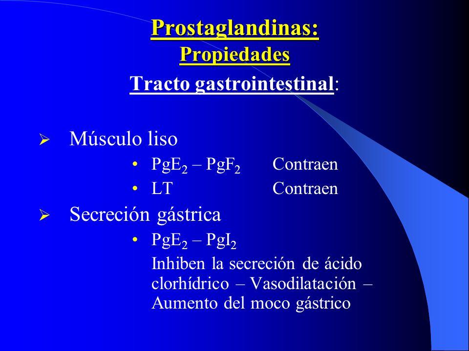 Prostaglandinas: Propiedades Tracto gastrointestinal: Músculo liso PgE 2 – PgF 2 Contraen LTContraen Secreción gástrica PgE 2 – PgI 2 Inhiben la secre