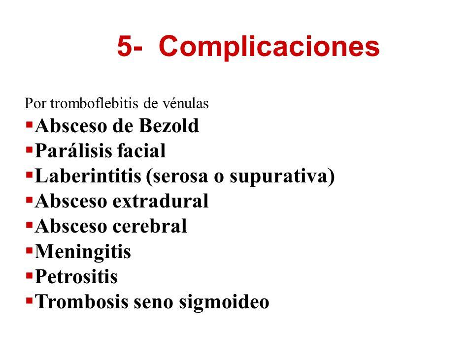 5- Complicaciones Por tromboflebitis de vénulas Absceso de Bezold Parálisis facial Laberintitis (serosa o supurativa) Absceso extradural Absceso cereb