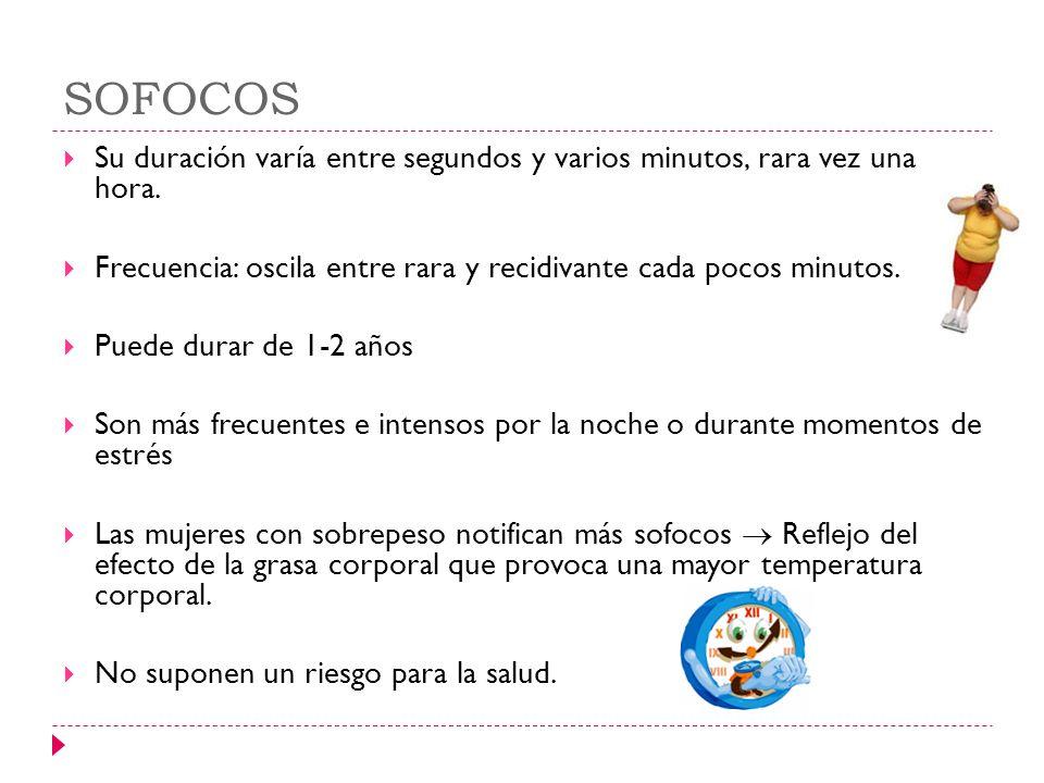SOFOCOS Su duración varía entre segundos y varios minutos, rara vez una hora. Frecuencia: oscila entre rara y recidivante cada pocos minutos. Puede du