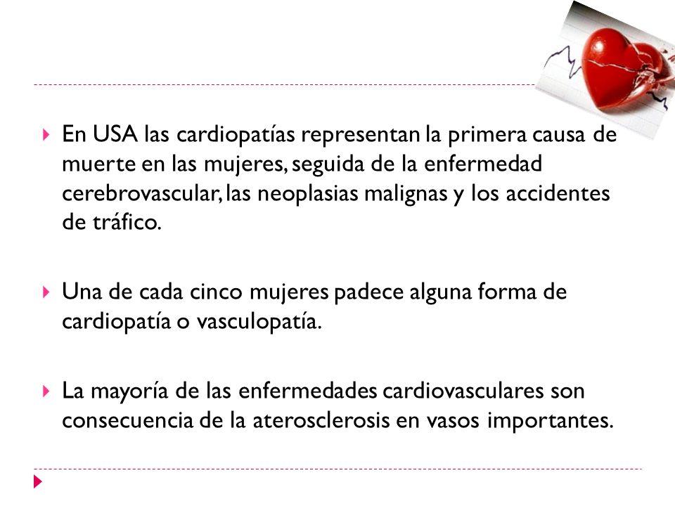 En USA las cardiopatías representan la primera causa de muerte en las mujeres, seguida de la enfermedad cerebrovascular, las neoplasias malignas y los