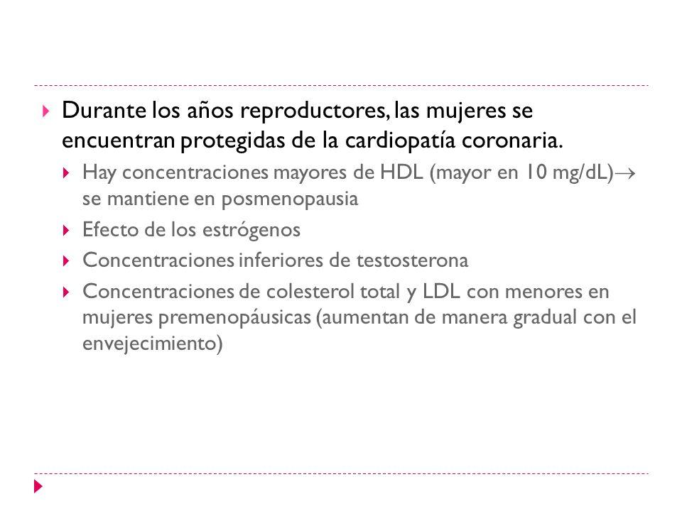 Durante los años reproductores, las mujeres se encuentran protegidas de la cardiopatía coronaria. Hay concentraciones mayores de HDL (mayor en 10 mg/d