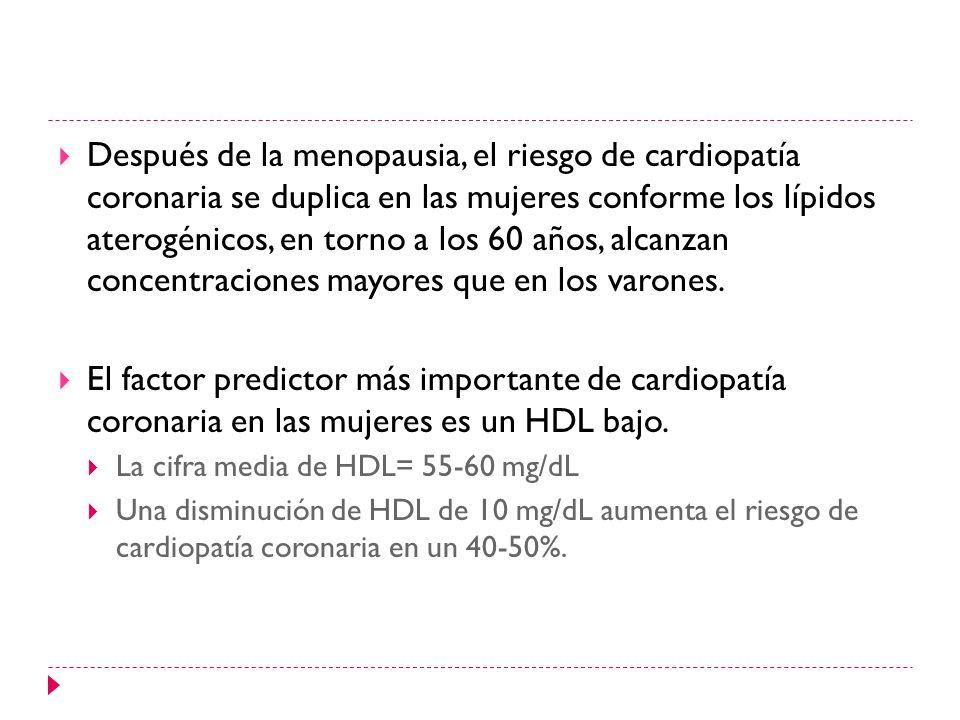 Después de la menopausia, el riesgo de cardiopatía coronaria se duplica en las mujeres conforme los lípidos aterogénicos, en torno a los 60 años, alca
