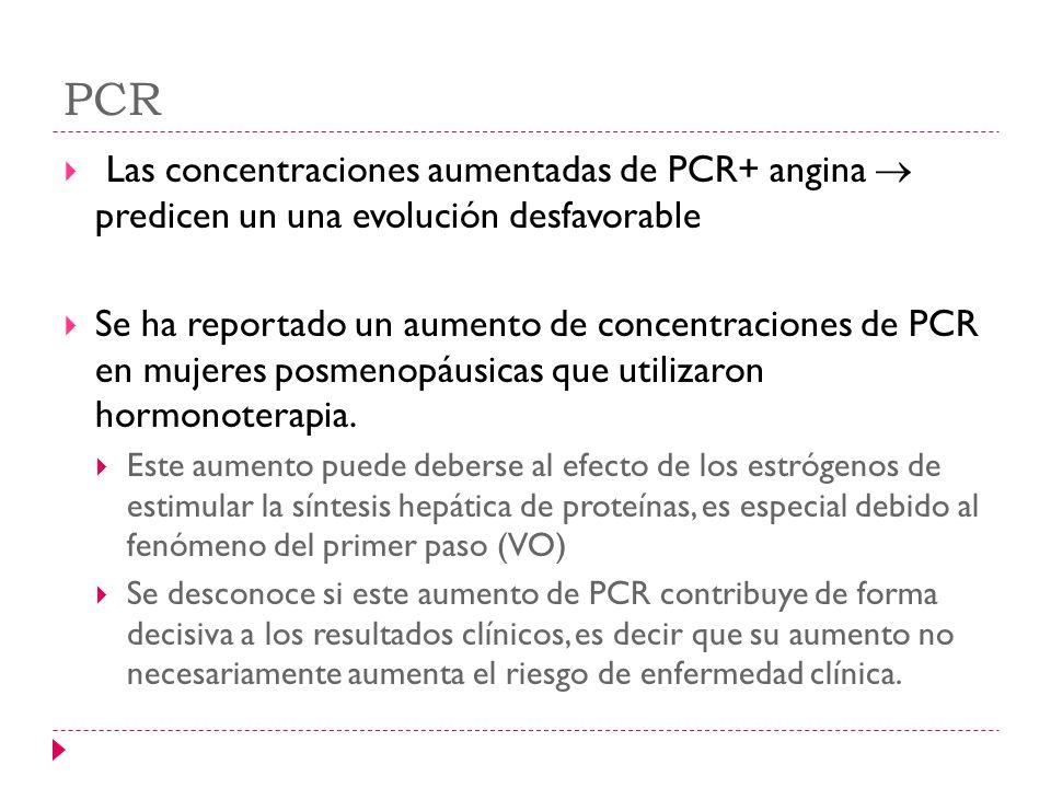 PCR Las concentraciones aumentadas de PCR+ angina predicen un una evolución desfavorable Se ha reportado un aumento de concentraciones de PCR en mujer