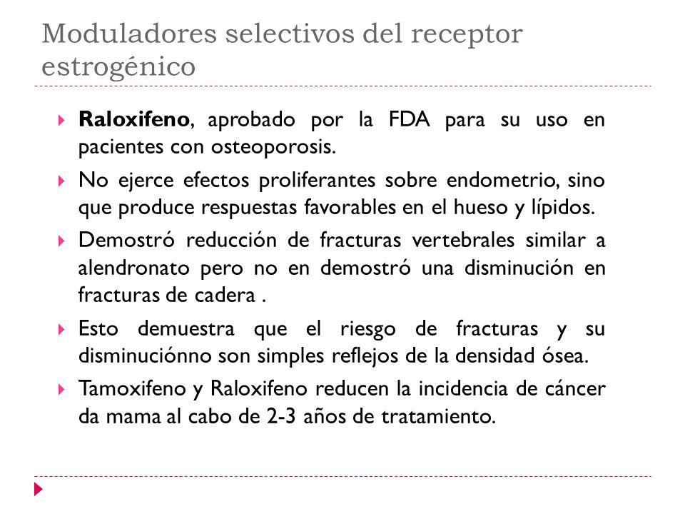 Moduladores selectivos del receptor estrogénico Raloxifeno, aprobado por la FDA para su uso en pacientes con osteoporosis. No ejerce efectos prolifera