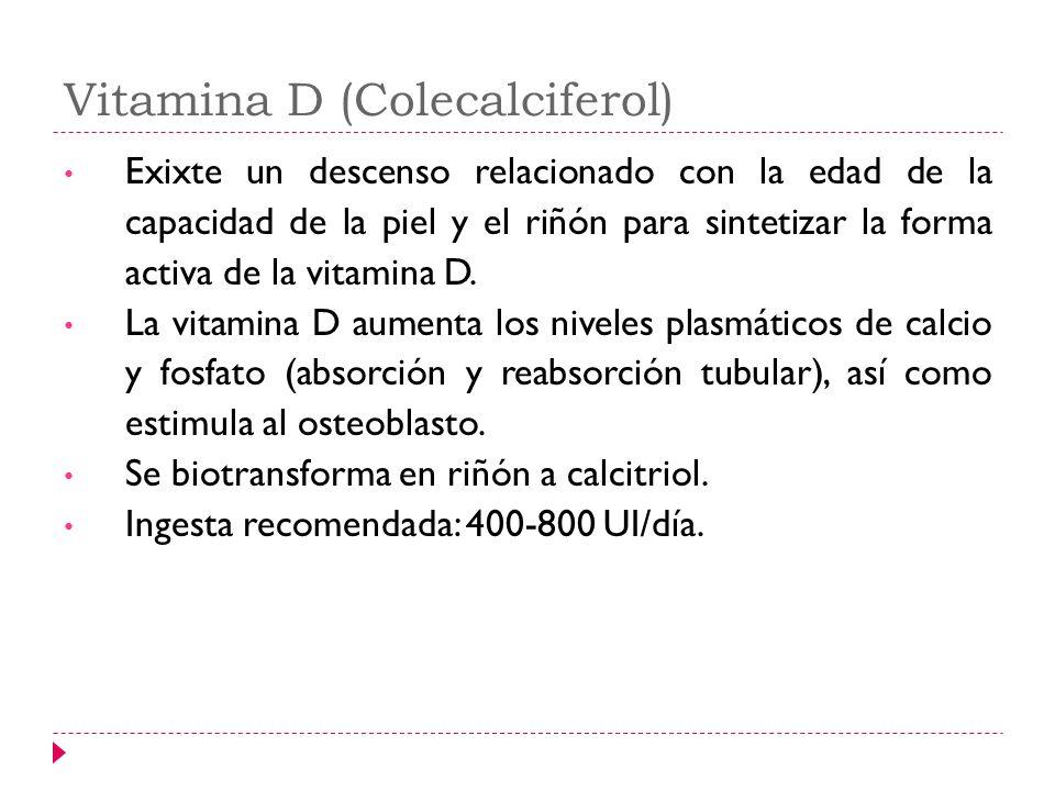 Vitamina D (Colecalciferol) Exixte un descenso relacionado con la edad de la capacidad de la piel y el riñón para sintetizar la forma activa de la vit