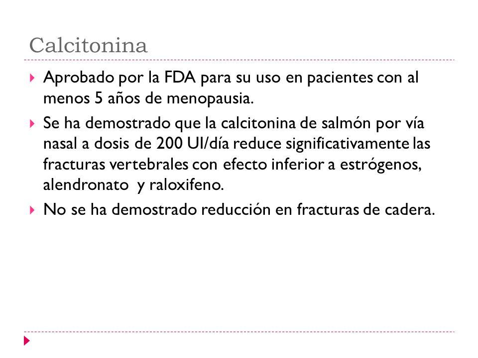 Calcitonina Aprobado por la FDA para su uso en pacientes con al menos 5 años de menopausia. Se ha demostrado que la calcitonina de salmón por vía nasa