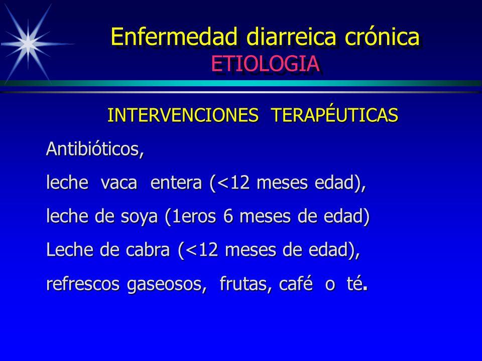 Enfermedad diarreica crónica ETIOLOGIA INTERVENCIONES TERAPÉUTICAS Antibióticos, leche vaca entera (<12 meses edad), leche de soya (1eros 6 meses de e