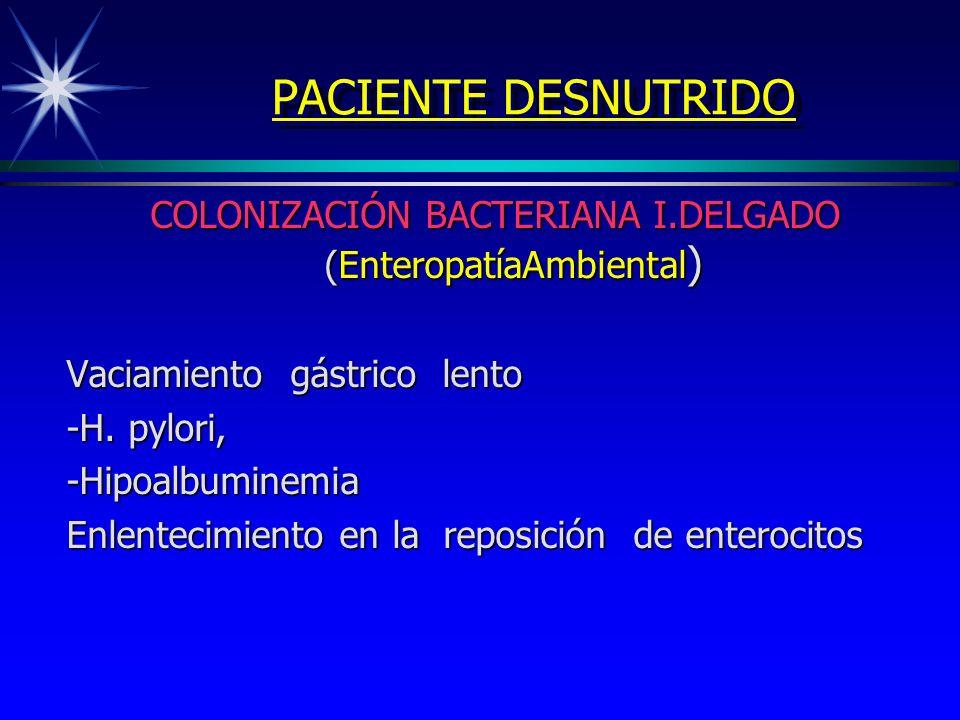 PACIENTE DESNUTRIDO COLONIZACIÓN BACTERIANA I.DELGADO (EnteropatíaAmbiental ) Vaciamiento gástrico lento -H. pylori, -Hipoalbuminemia Enlentecimiento