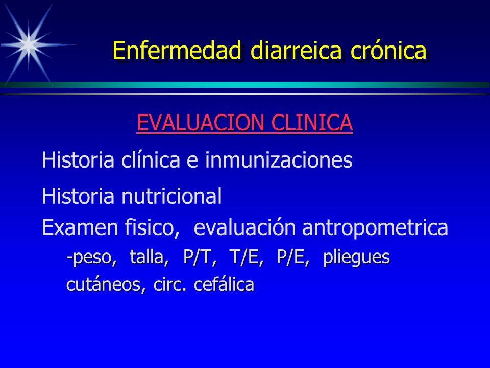 Enfermedad diarreica crónica EVALUACION CLINICA Historia clínica e inmunizaciones Historia nutricional Examen fisico, evaluación antropometrica -peso,