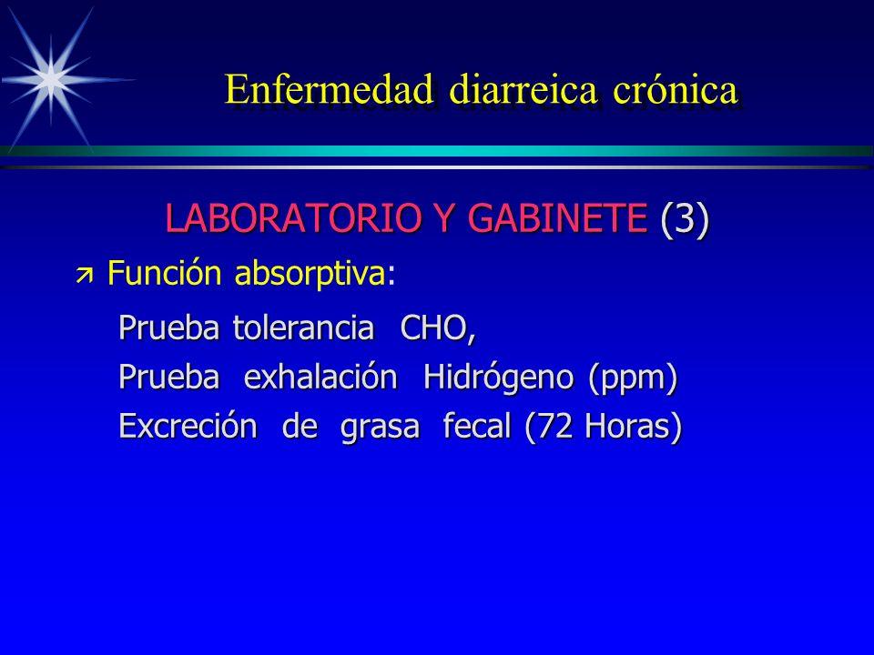 Enfermedad diarreica crónica LABORATORIO Y GABINETE (3) ä ä Función absorptiva: Prueba tolerancia CHO, Prueba exhalación Hidrógeno (ppm) Excreción de