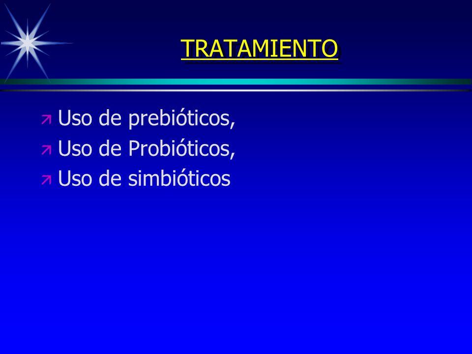 TRATAMIENTO ä ä Uso de prebióticos, ä ä Uso de Probióticos, ä ä Uso de simbióticos