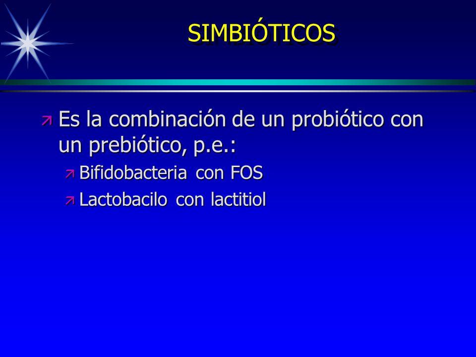 SIMBIÓTICOS ä Es la combinación de un probiótico con un prebiótico, p.e.: ä Bifidobacteria con FOS ä Lactobacilo con lactitiol