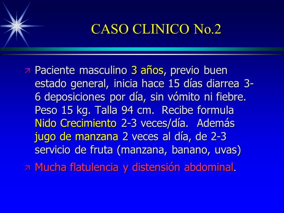 CASO CLINICO No.2 ä Paciente masculino 3 años, previo buen estado general, inicia hace 15 días diarrea 3- 6 deposiciones por día, sin vómito ni fiebre