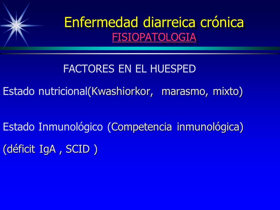 Enfermedad diarreica crónica FISIOPATOLOGIA FACTORES EN EL HUESPED (Kwashiorkor, marasmo, mixto) Estado nutricional(Kwashiorkor, marasmo, mixto) Compe