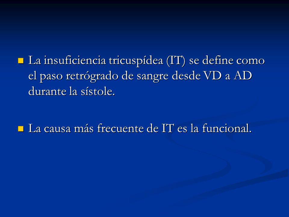 La insuficiencia tricuspídea (IT) se define como el paso retrógrado de sangre desde VD a AD durante la sístole.