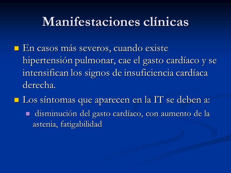 Manifestaciones clínicas En casos más severos, cuando existe hipertensión pulmonar, cae el gasto cardíaco y se intensifican los signos de insuficiencia cardíaca derecha.