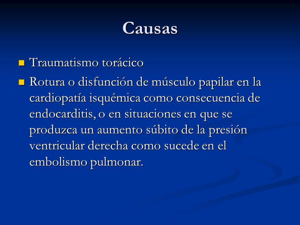 Causas Traumatismo torácico Traumatismo torácico Rotura o disfunción de músculo papilar en la cardiopatía isquémica como consecuencia de endocarditis, o en situaciones en que se produzca un aumento súbito de la presión ventricular derecha como sucede en el embolismo pulmonar.