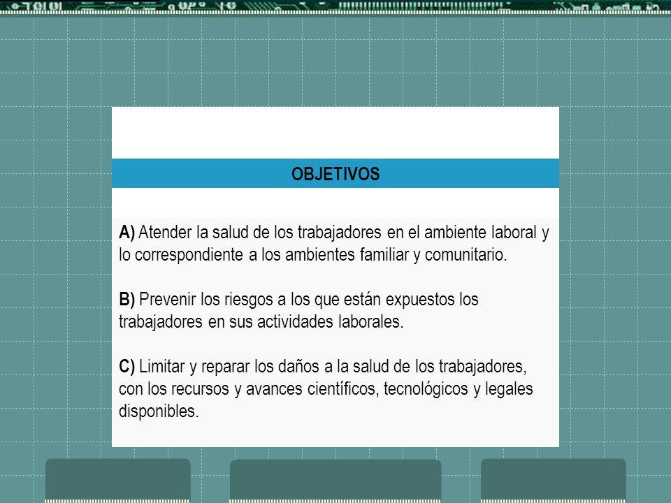 OBJETIVOS A) Atender la salud de los trabajadores en el ambiente laboral y lo correspondiente a los ambientes familiar y comunitario. B) Prevenir los