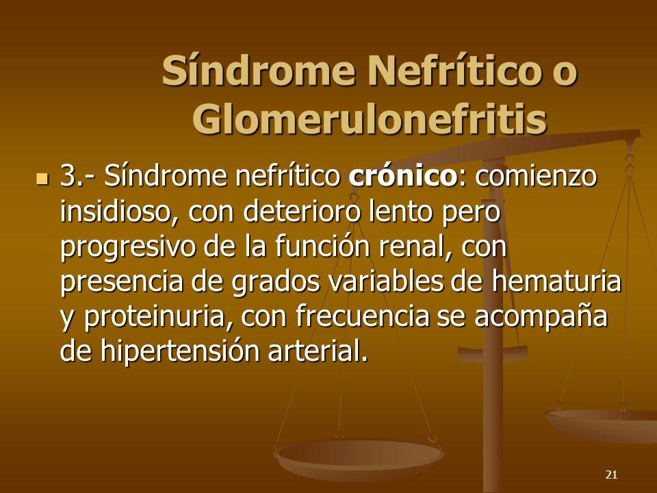 21 Síndrome Nefrítico o Glomerulonefritis 3.- Síndrome nefrítico crónico: comienzo insidioso, con deterioro lento pero progresivo de la función renal,