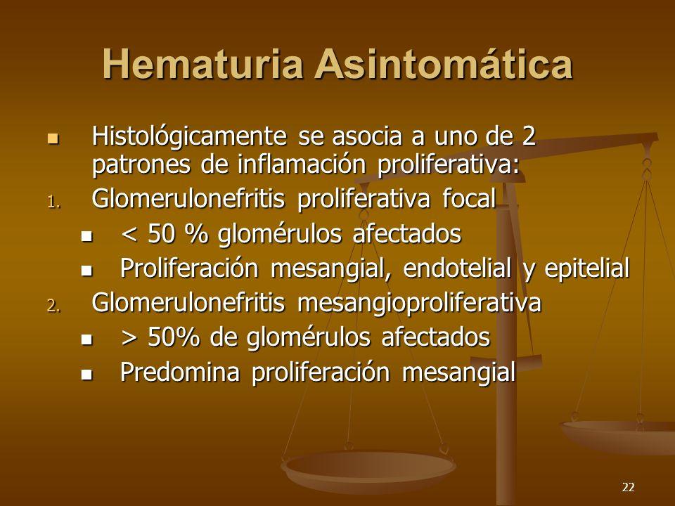 22 Hematuria Asintomática Histológicamente se asocia a uno de 2 patrones de inflamación proliferativa: Histológicamente se asocia a uno de 2 patrones