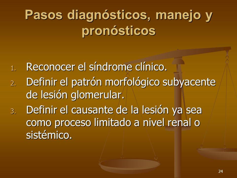 24 Pasos diagnósticos, manejo y pronósticos 1. Reconocer el síndrome clínico. 2. Definir el patrón morfológico subyacente de lesión glomerular. 3. Def