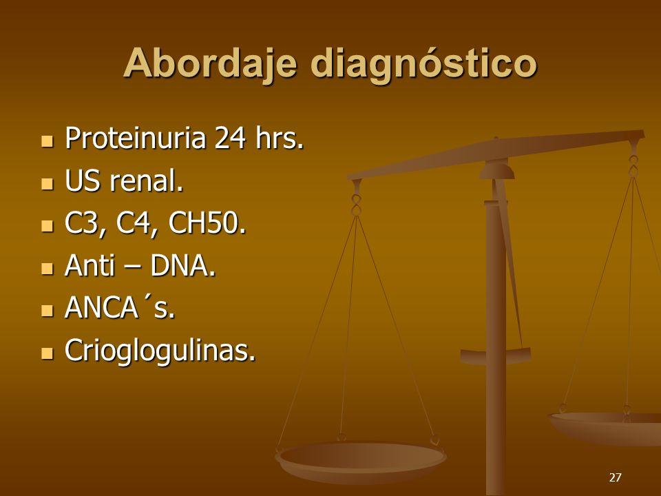 27 Abordaje diagnóstico Proteinuria 24 hrs. Proteinuria 24 hrs. US renal. US renal. C3, C4, CH50. C3, C4, CH50. Anti – DNA. Anti – DNA. ANCA´s. ANCA´s