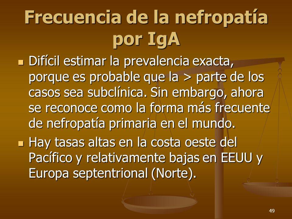 49 Frecuencia de la nefropatía por IgA Difícil estimar la prevalencia exacta, porque es probable que la > parte de los casos sea subclínica. Sin embar