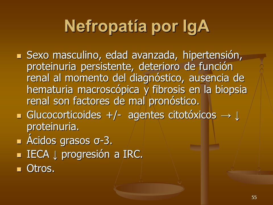 55 Nefropatía por IgA Sexo masculino, edad avanzada, hipertensión, proteinuria persistente, deterioro de función renal al momento del diagnóstico, aus