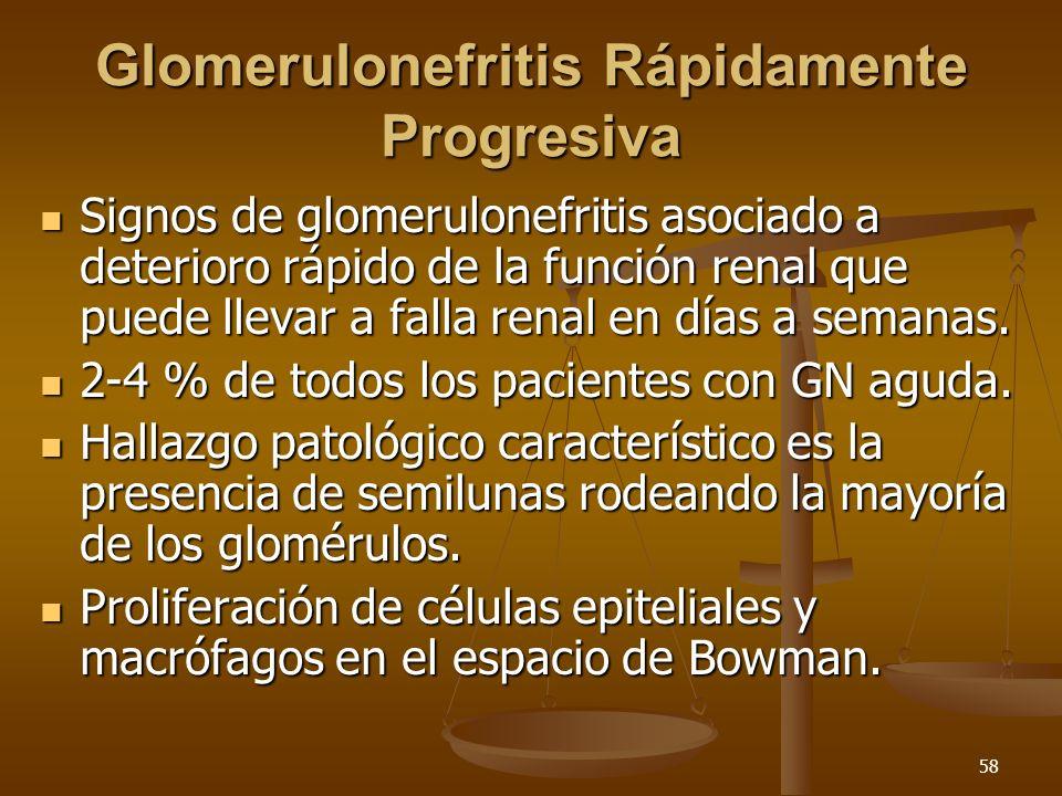 58 Glomerulonefritis Rápidamente Progresiva Signos de glomerulonefritis asociado a deterioro rápido de la función renal que puede llevar a falla renal