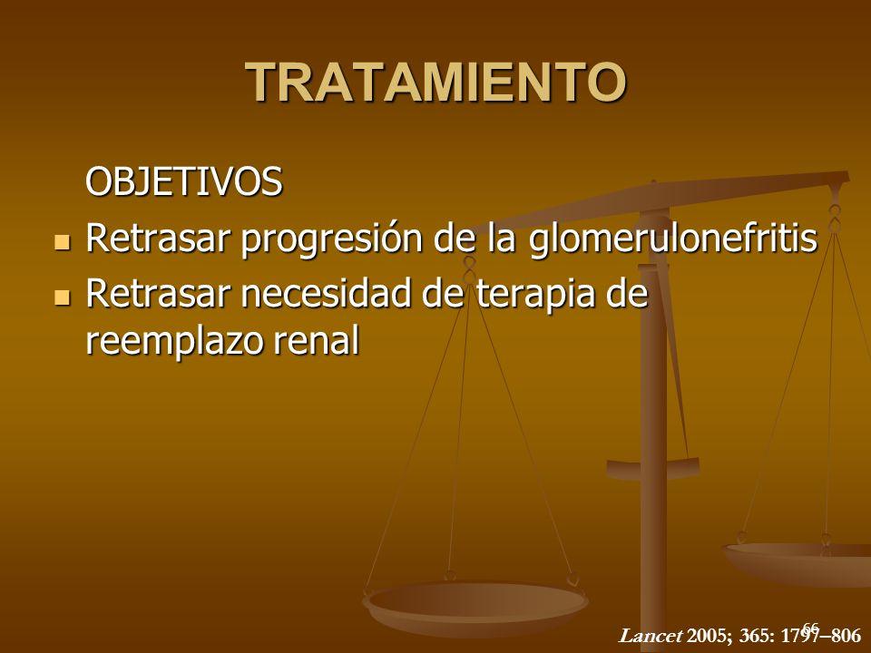 66 TRATAMIENTO OBJETIVOS Retrasar progresión de la glomerulonefritis Retrasar progresión de la glomerulonefritis Retrasar necesidad de terapia de reem