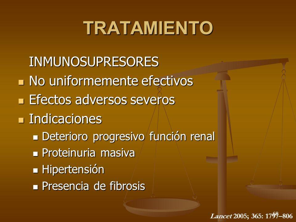 68 TRATAMIENTO INMUNOSUPRESORES No uniformemente efectivos No uniformemente efectivos Efectos adversos severos Efectos adversos severos Indicaciones I