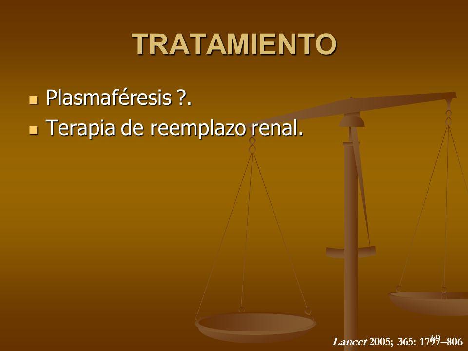 69 TRATAMIENTO Plasmaféresis ?. Plasmaféresis ?. Terapia de reemplazo renal. Terapia de reemplazo renal. Lancet 2005; 365: 1797–806