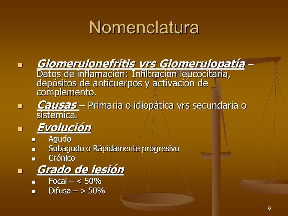 8 Nomenclatura Glomerulonefritis vrs Glomerulopatía – Datos de inflamación: Infiltración leucocitaria, depósitos de anticuerpos y activación de comple
