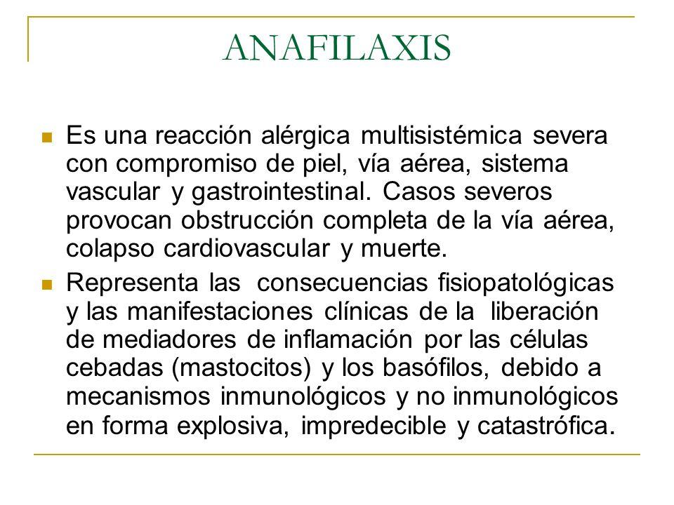 ANAFILAXIS Es una reacción alérgica multisistémica severa con compromiso de piel, vía aérea, sistema vascular y gastrointestinal. Casos severos provoc