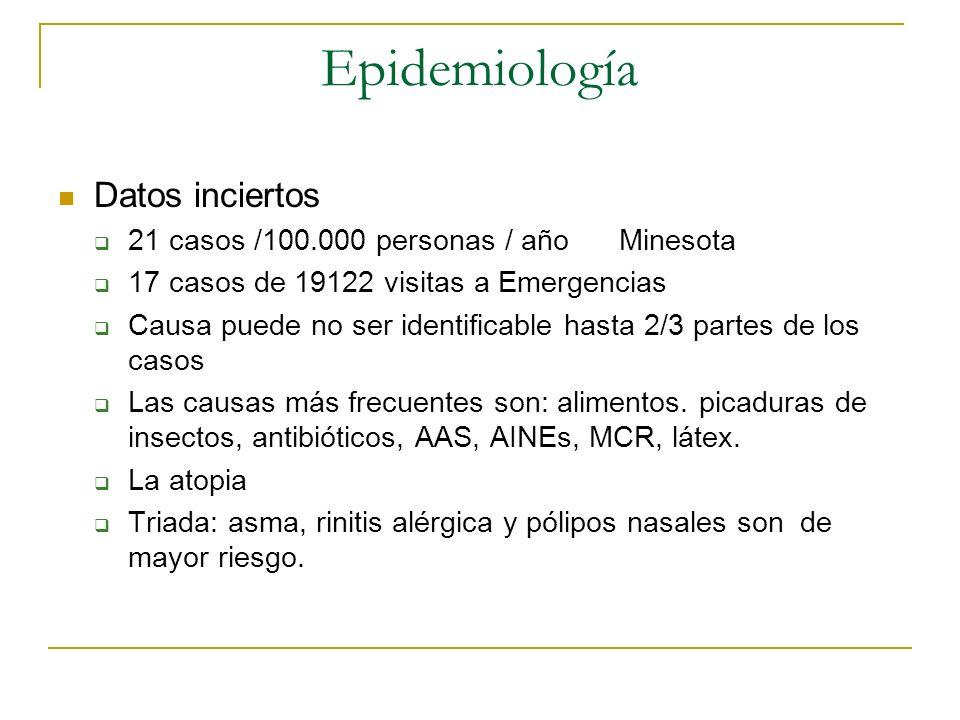 Epidemiología Datos inciertos 21 casos /100.000 personas / año Minesota 17 casos de 19122 visitas a Emergencias Causa puede no ser identificable hasta