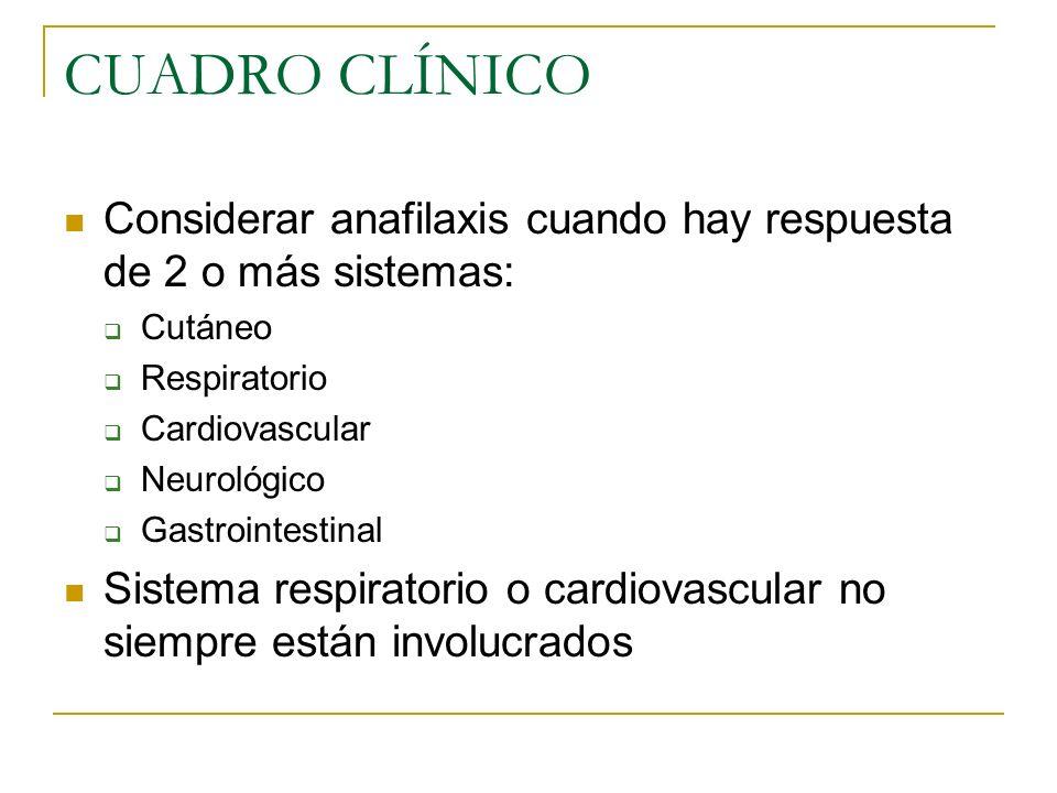 CUADRO CLÍNICO Considerar anafilaxis cuando hay respuesta de 2 o más sistemas: Cutáneo Respiratorio Cardiovascular Neurológico Gastrointestinal Sistem
