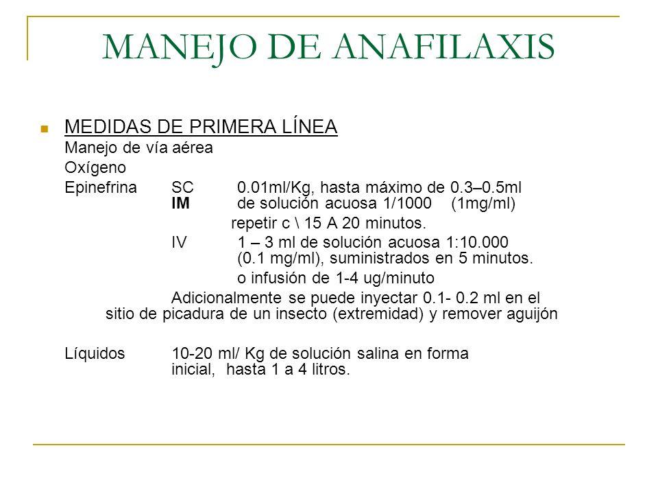MANEJO DE ANAFILAXIS MEDIDAS DE PRIMERA LÍNEA Manejo de vía aérea Oxígeno EpinefrinaSC0.01ml/Kg, hasta máximo de 0.3–0.5ml IMde solución acuosa 1/1000