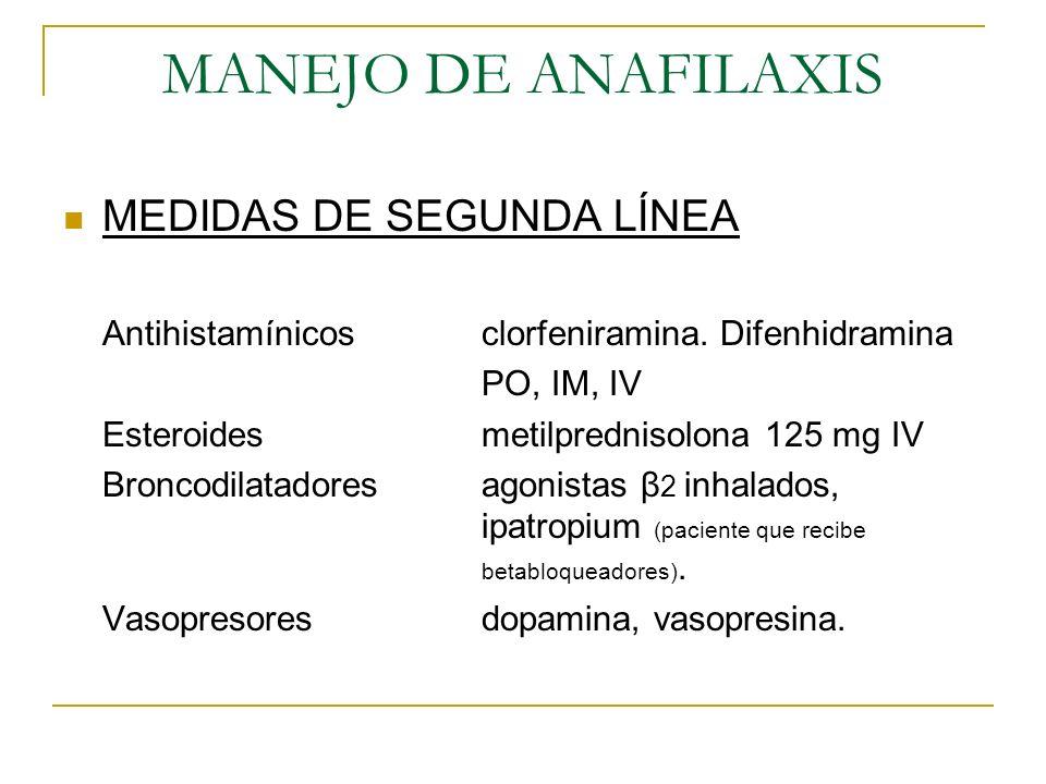 MANEJO DE ANAFILAXIS MEDIDAS DE SEGUNDA LÍNEA Antihistamínicosclorfeniramina. Difenhidramina PO, IM, IV Esteroidesmetilprednisolona 125 mg IV Broncodi