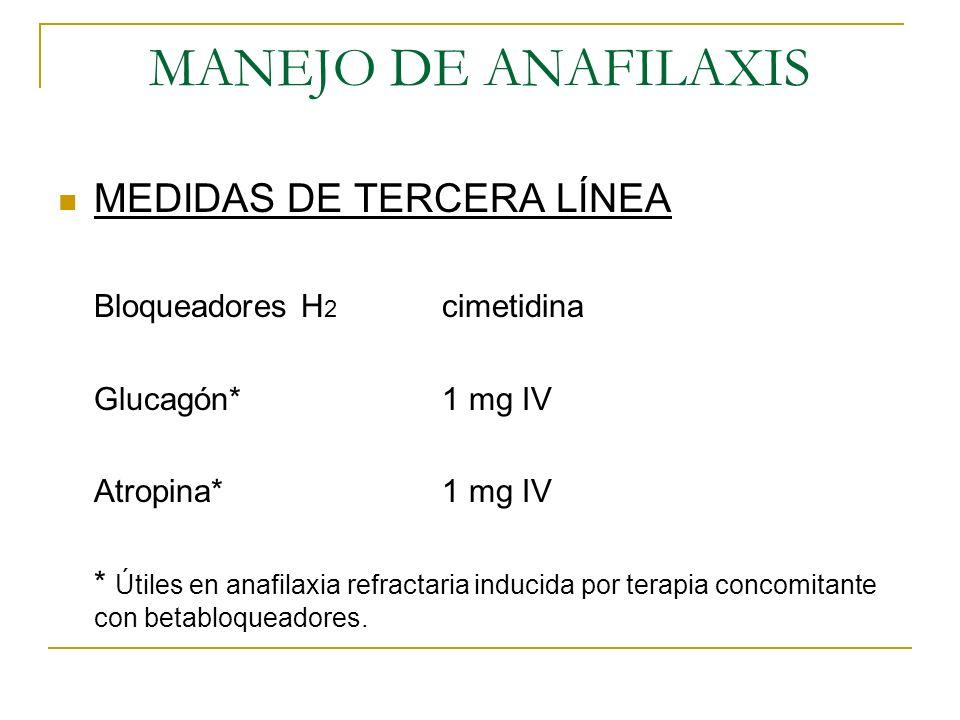 MANEJO DE ANAFILAXIS MEDIDAS DE TERCERA LÍNEA Bloqueadores H 2 cimetidina Glucagón*1 mg IV Atropina*1 mg IV * Útiles en anafilaxia refractaria inducid