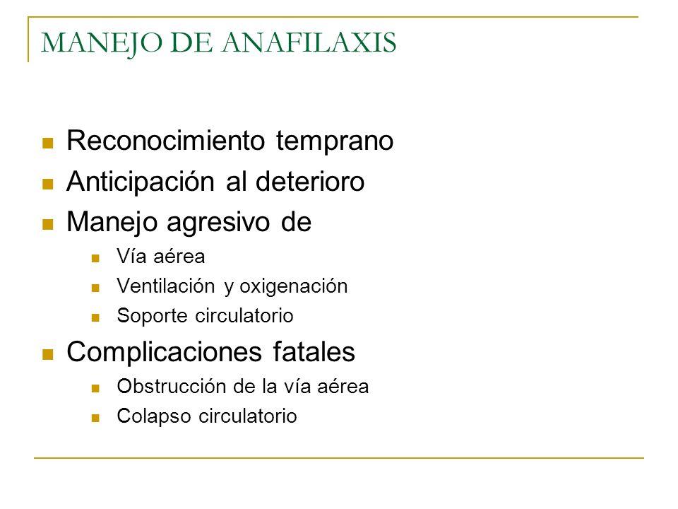 MANEJO DE ANAFILAXIS Reconocimiento temprano Anticipación al deterioro Manejo agresivo de Vía aérea Ventilación y oxigenación Soporte circulatorio Com
