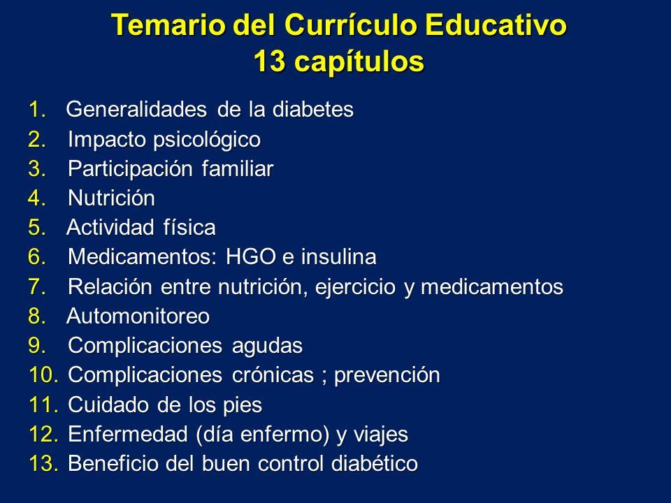 Temario del Currículo Educativo 13 capítulos 1.Generalidades de la diabetes 2. Impacto psicológico 3. Participación familiar 4. Nutrición 5. Actividad