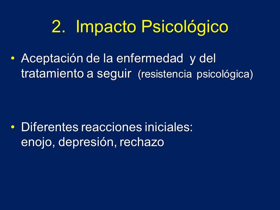 2. Impacto Psicológico Aceptación de la enfermedad y del tratamiento a seguir (resistencia psicológica)Aceptación de la enfermedad y del tratamiento a