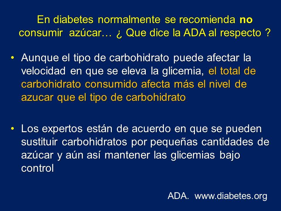 El consumo de productos especiales para diabetes o productos sin azúcar no es de consumo libre Se debe valorar el aporte de otros carbohidratos