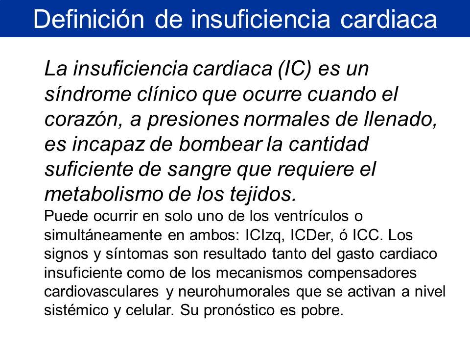 La insuficiencia cardiaca (IC) es un síndrome clínico que ocurre cuando el corazón, a presiones normales de llenado, es incapaz de bombear la cantidad