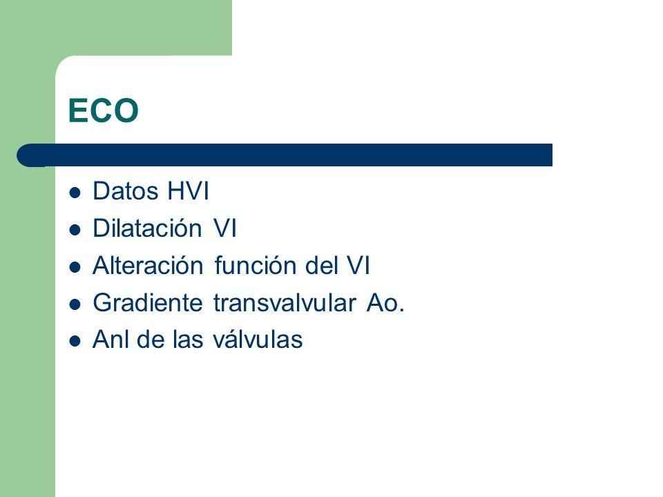 ECO Datos HVI Dilatación VI Alteración función del VI Gradiente transvalvular Ao. Anl de las válvulas
