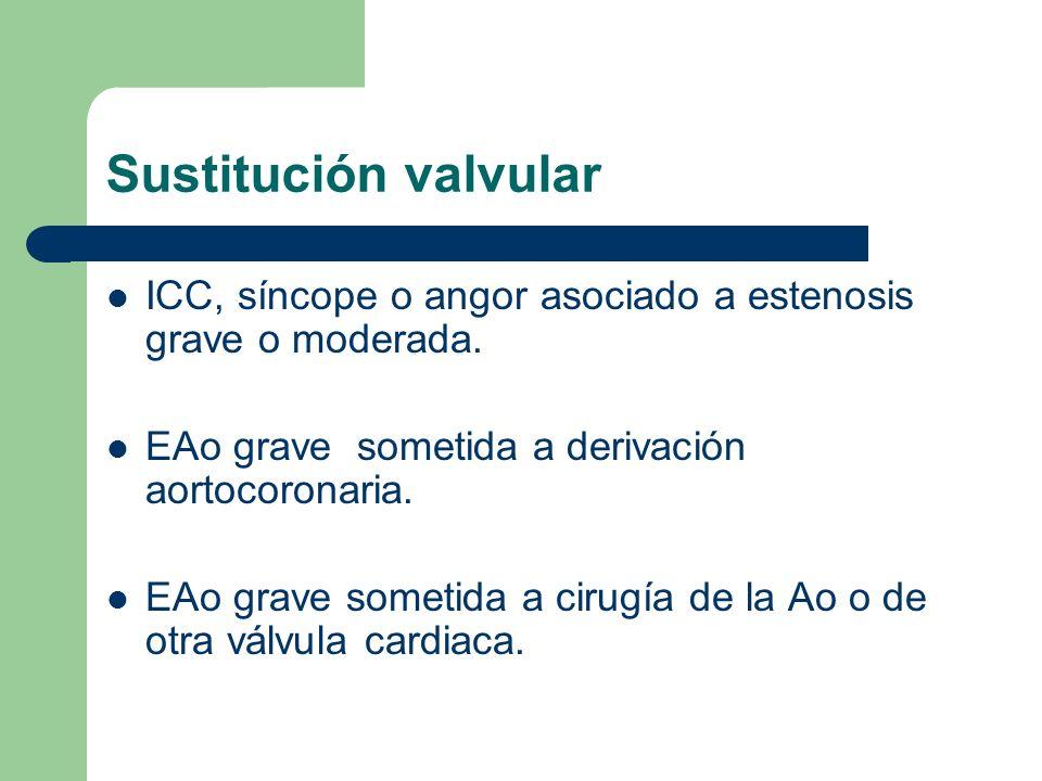 Sustitución valvular ICC, síncope o angor asociado a estenosis grave o moderada. EAo grave sometida a derivación aortocoronaria. EAo grave sometida a