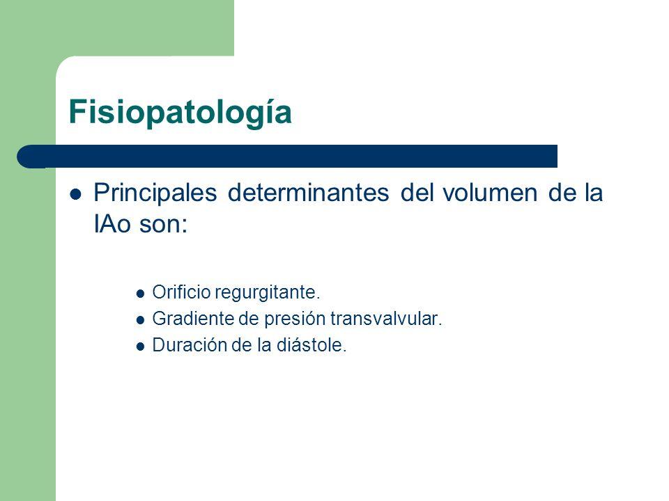 Fisiopatología Principales determinantes del volumen de la IAo son: Orificio regurgitante. Gradiente de presión transvalvular. Duración de la diástole