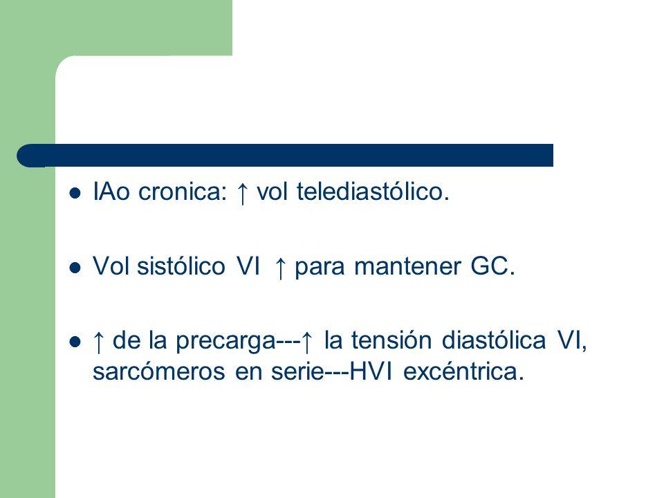 IAo cronica: vol telediastólico. Vol sistólico VI para mantener GC. de la precarga--- la tensión diastólica VI, sarcómeros en serie---HVI excéntrica.