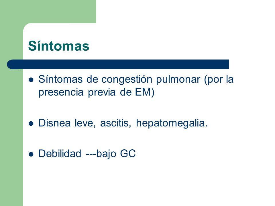 Síntomas Síntomas de congestión pulmonar (por la presencia previa de EM) Disnea leve, ascitis, hepatomegalia. Debilidad ---bajo GC