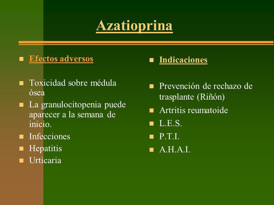 Azatioprina n Efectos adversos n Toxicidad sobre médula ósea n La granulocitopenia puede aparecer a la semana de inicio. n Infecciones n Hepatitis n U